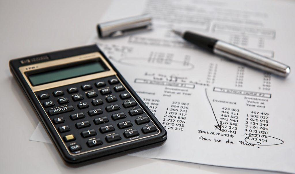 Black Calculator on Spreadsheet