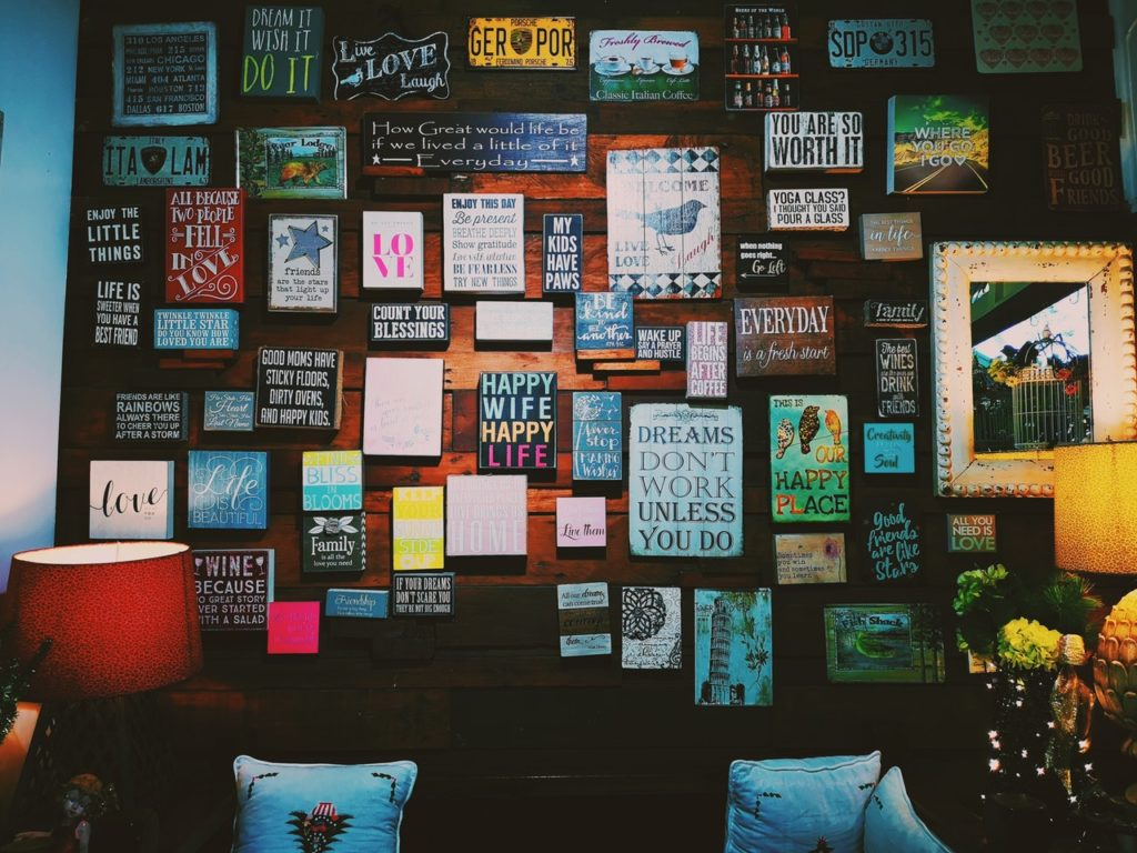 Assorted letter boards on wall