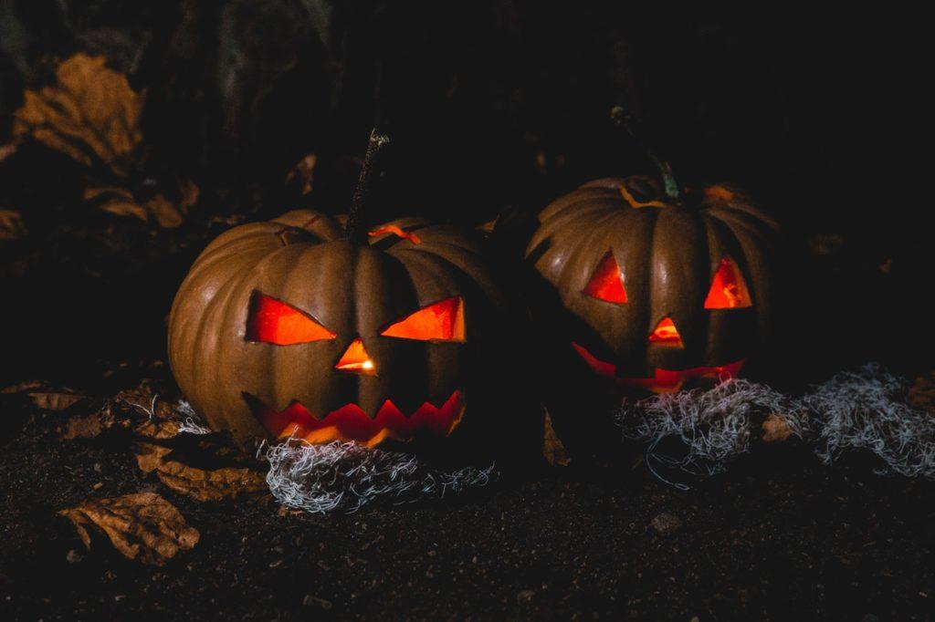 Carved pumpkin lamps